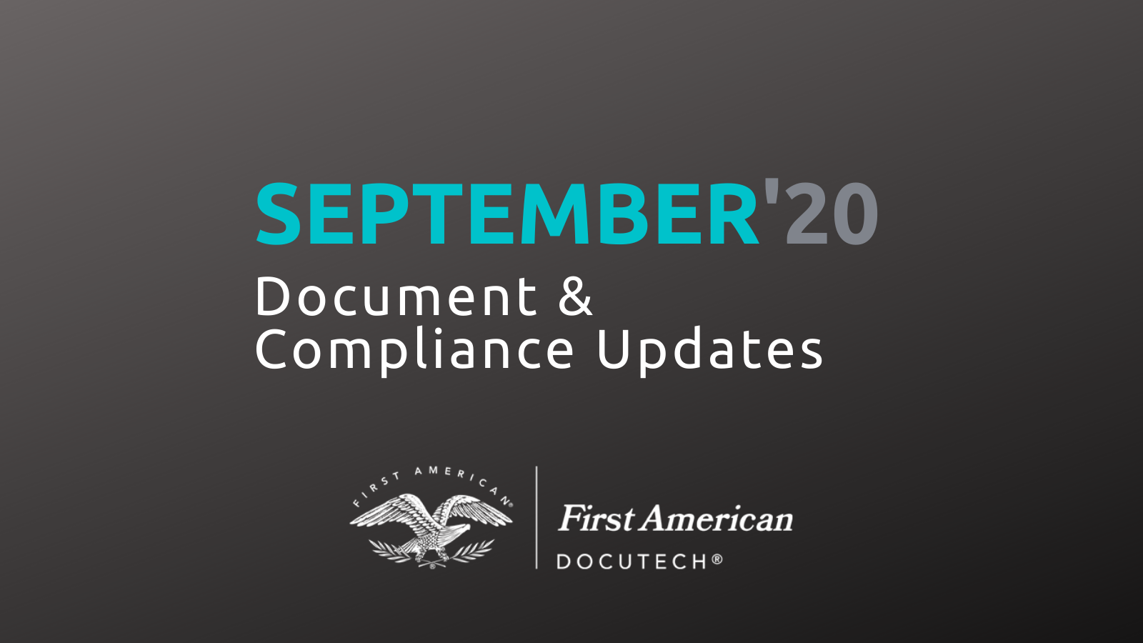 September 2020 Document and Compliance Updates