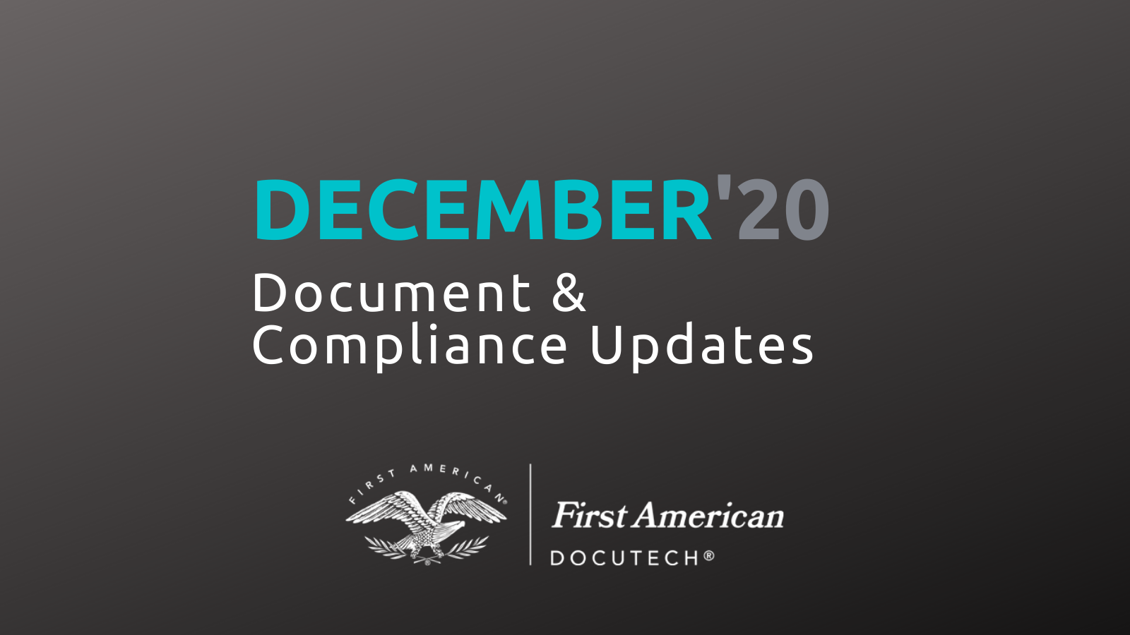 December '20 Document and Compliance Updates